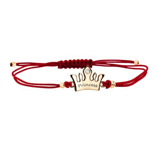 Гривна с червен конец и 14 карата златен елемент корона с гравирано послание