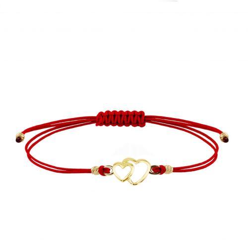 Гривна с червен конец и златен елемент две сърца