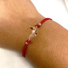 Гривна с червен конец и златен елемент пеперуда с циркони B60