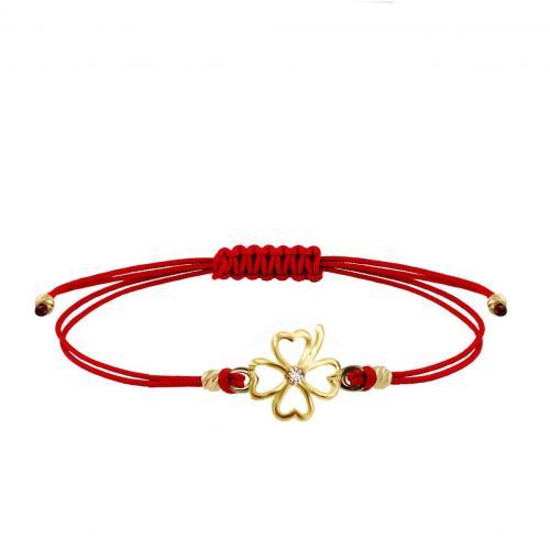 Гривна с червен конец и 14 карата златен елемент детелинка с циркон