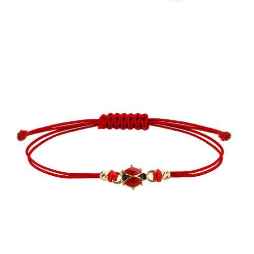 Гривна с червен конец и 14 карата златен елемент Калинка