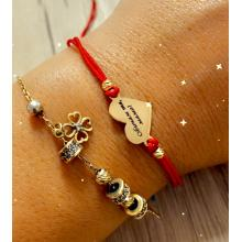 Гривна с червен конец и 14 карата златен елемент сърце с гравирано послание по избор