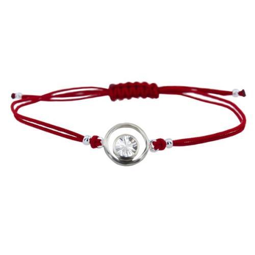 Гривна с червен конец и сребърен елемент с циркон В10