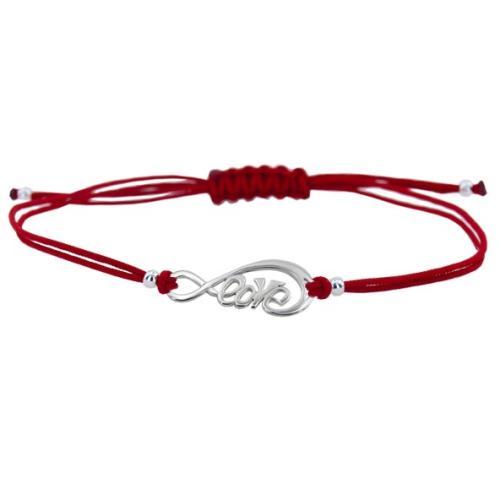 Гривна с червен конец и сребърен елемент безкрайност В11