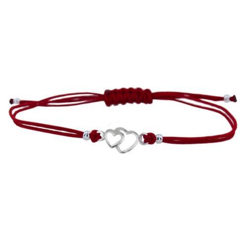 Гривна с червен конец и сребърен елемент две сърца В12
