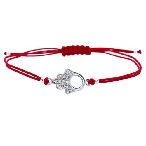 Гривна с червен конец и сребърен елемент Ръката На Фатима В21