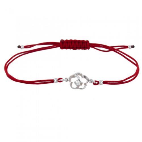 Гривна с червен конец и сребърен елемент цвете с циркон В4
