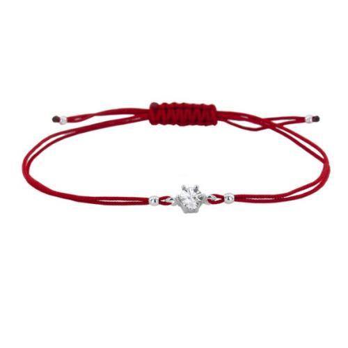 Гривна с червен конец и сребърен елемент с циркон В5