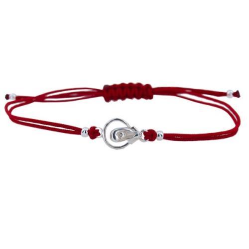 Гривна с червен конец и сребърен елемент Богородица В9
