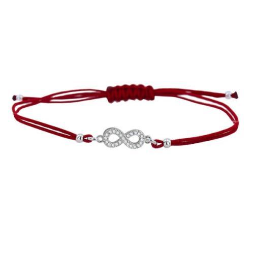 Гривна с червен конец и сребърен елемент безкрайност BT15