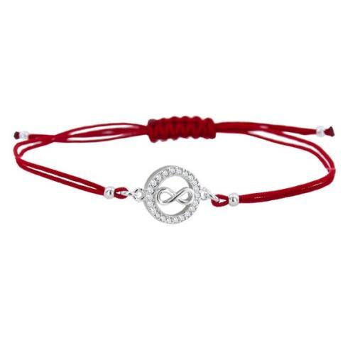Гривна с червен конец и сребърен елемент безкрайност BT16