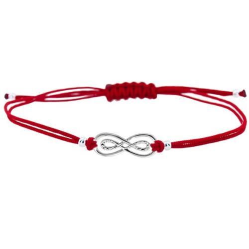 Гривна с червен конец и сребърен елемент безкрайност B19