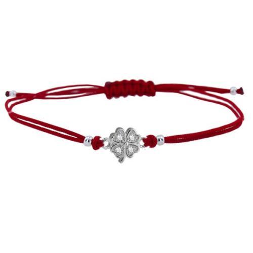 Гривна с червен конец и сребърен елемент детелинка с циркони BT24