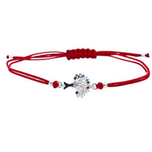 Гривна с червен конец и сребърен елемент Дървото на живота BT27