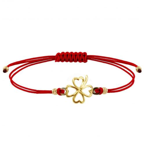 Гривна с червен конец и 14 карата златен елемент детелинка