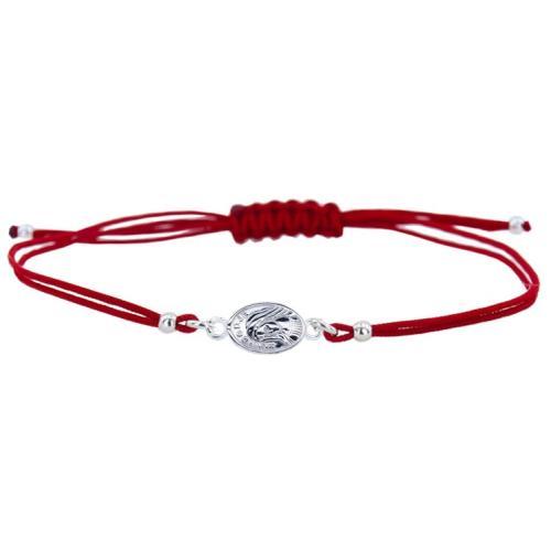 Гривна с червен конец и сребърен елемент Богородица В56