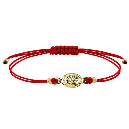 Гривна с червен конец и златен елемент Богородица