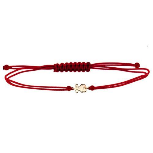 Гривна с червен конец и 14 карата златен елемент мече