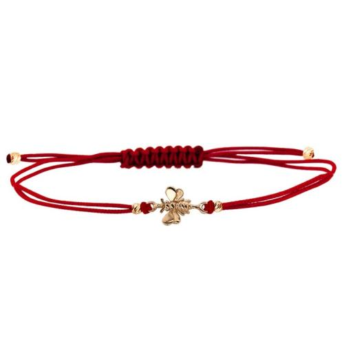 Гривна с червен конец и 14 карата златен елемент пчеличка