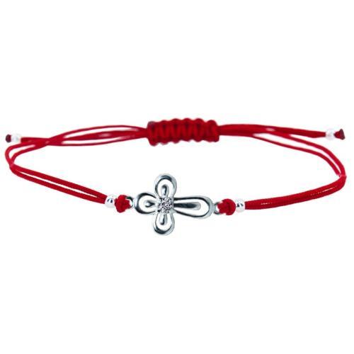 Гривна с червен конец и сребърен елемент кръст B63