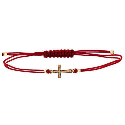Гривна с червен конец и 14 карата златен елемент кръст B6