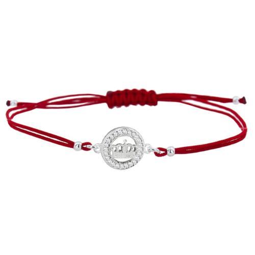 Гривна с червен конец и сребърен елемент коронка с циркони BT32