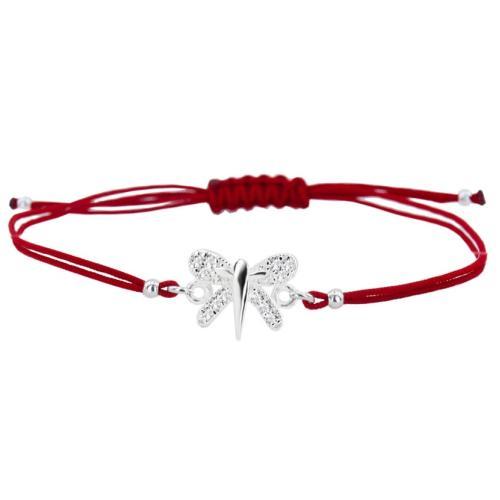 Гривна с червен конец и сребърен елемент пеперуда с циркони BT34