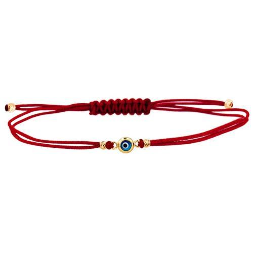 Гривна с червен конец и златен елемент синьо око BT41