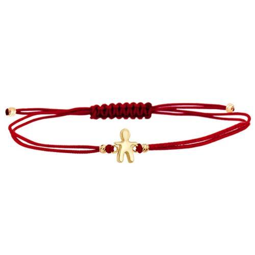 Гривна с червен конец и 14 карата златна фигура момче