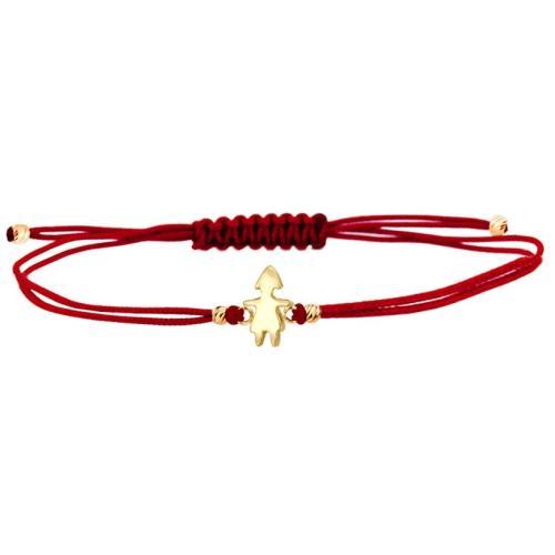 Гривна с червен конец и 14 карата златна фигура момиче