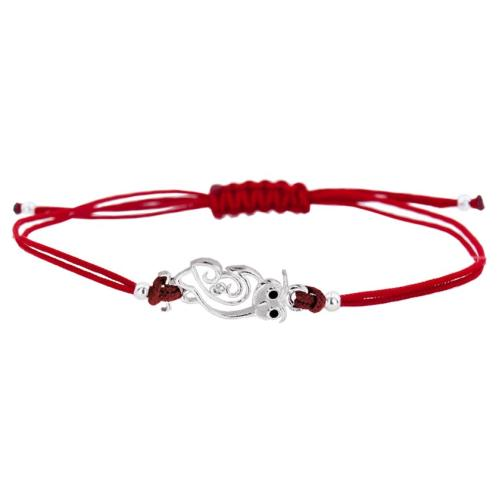 Гривна с червен конец и сребърен елемент сова BT46