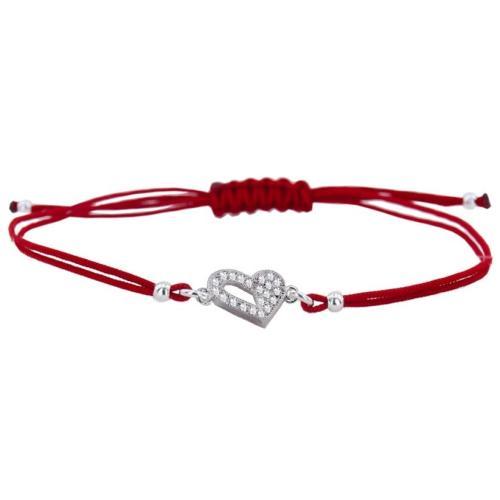 Гривна с червен конец и сребърен елемент сърце с цирконий BT47