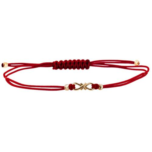 Гривна с червен конец и 14 карата златен елемент безкрайност