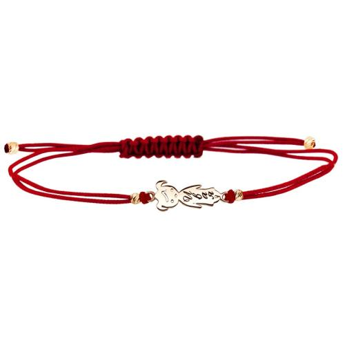 Гривна с червен конец и 14 карата златен елемент момиченце