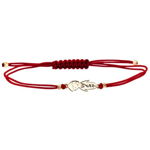 Гривна с червен конец и 14 карата златен елемент момче
