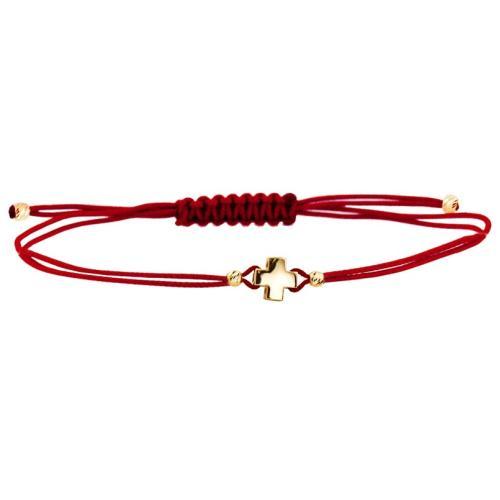 Гривна с червен конец и 14 карата златен елемент кръст