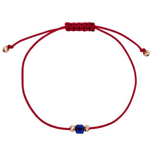 Гривна с червен конец и 14 карата златни топчета с Dark Heliotrope
