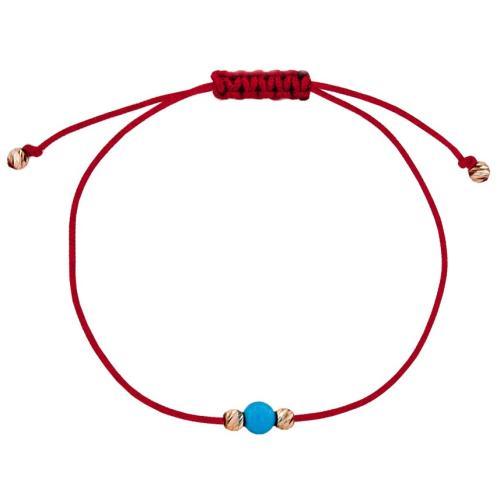 Гривна с червен конец и 14 карата златни топчета с тюркоаз