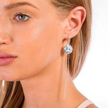 Сребърни обеци с кристали от Swarovski® Deep Blue 53