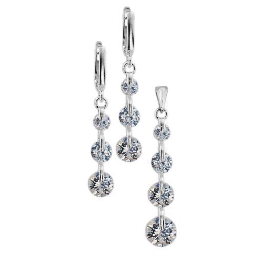 Сребърен комплект с циркони 7103