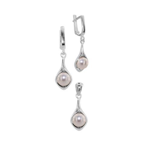 Сребърен комплект с перли 7106