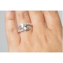 Сребърен Пръстен с гравирани инициали по избор със сърце и циркони