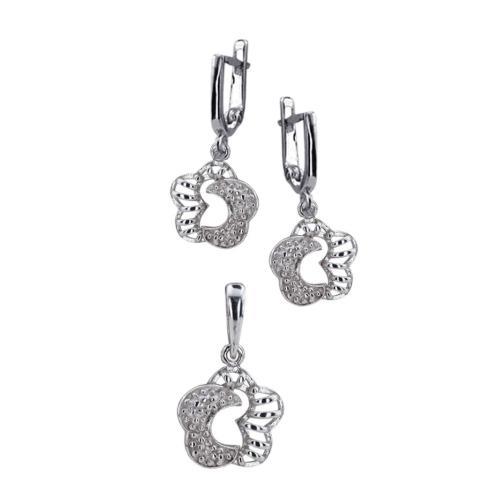 Сребърен Комплект Обеци и Медальон 7165