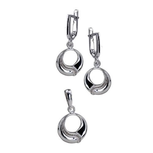 Сребърен Комплект Обеци и Медальон 7167