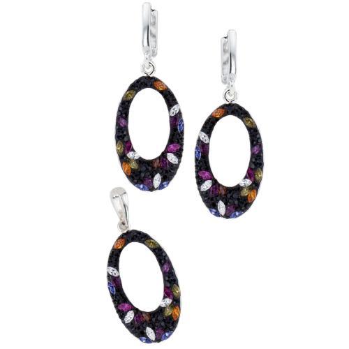 Сребърен комплект обеци и медальон с кристали от Swarovski® SKM129 Color Drops