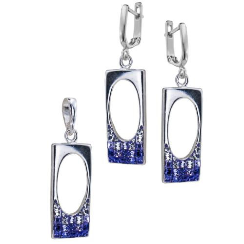 Сребърен комплект обеци и медальон с кристали от Swarovski® SKM146 Tanzanite and Violet