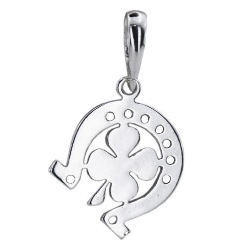 Сребърен Медальон подкова с детелинка 7218
