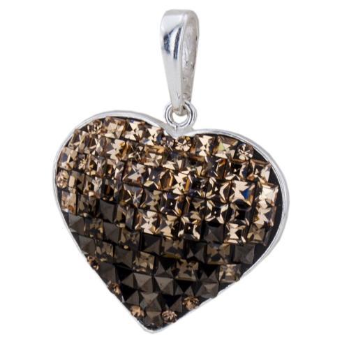 Сребърен медальон с кристали от Swarovski® SM270 Light Colorado Topaz And Smoked Topaz Квадрати