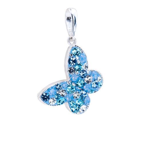Сребърен медальон с кристали от Swarovski® SM289 Deep Blue