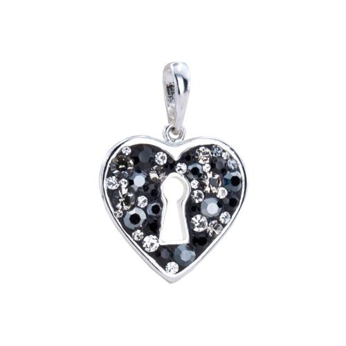 Сребърен медальон с кристали от Swarovski® SM290 Late Night